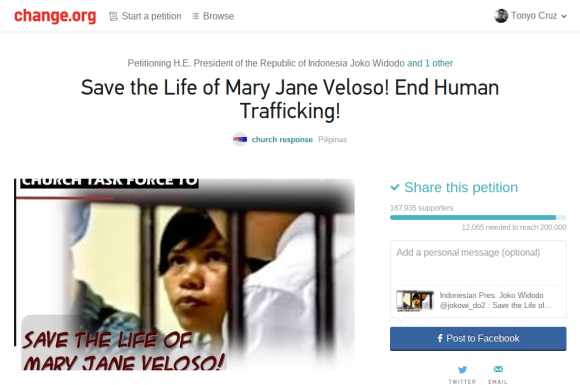 Change.org petition to save Mary Jane (Screengrab)